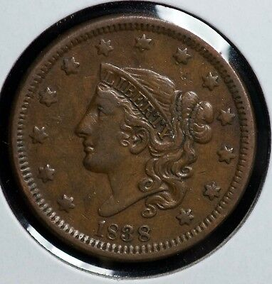 1838 Coronet Large One Cent Coin