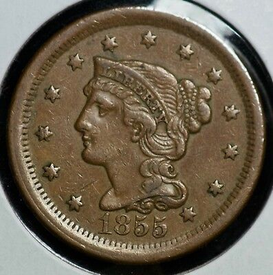 1855 Braided Large One Cent Coin