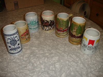 Lot of 7 Misc Vintage Budweiser Anheuser Busch Beer Mugs Steins