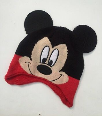 NEW Mickey Mouse Boys Winter Knit Trapper Hat Beanie / 1-3 years