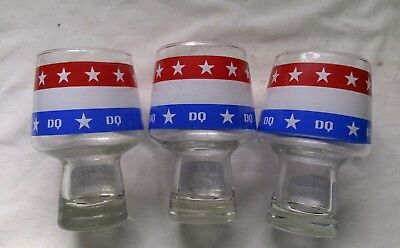 (3) Vintage Red White Blue  Stars & Stripes Dairy Queen Drinking Glasses