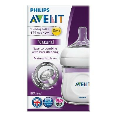 Philips Avent Natural Feeding Bottle 1 Piece 125Ml 4 Oz Clear Baby Breastfeeding