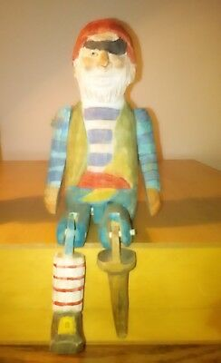vintage folk art hand carved jointed figure rare articulated wooden pirate