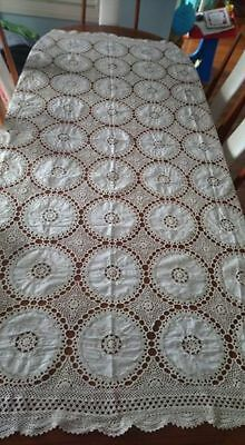 Vintage Crochet cotton tablecloth, bed throw BEAUTIFUL