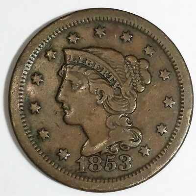 1853 Braided Hair Large Cent Beautiful Coin