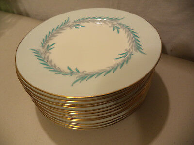 12 Vintage Minton Bone China Malta Enamel Laurel Leaf Gold Gilt Salad Plates!