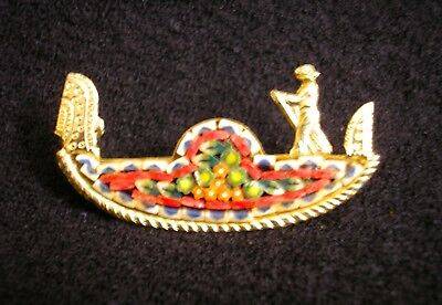 "Italian mosaic pin gondola design multicolored lglass on goldtone 2"" by 1"""