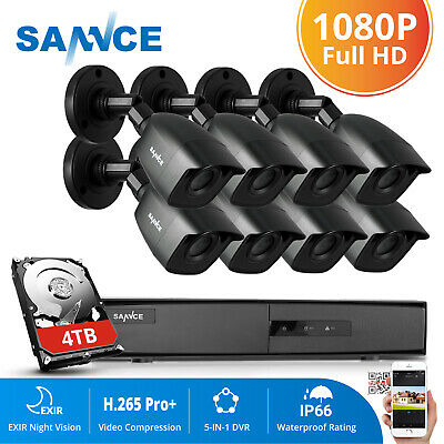 SANNCE 4CH/ 8CH 1080P 5in1 DVR 2MP In/Outdoor IR Security Camera System 0-4TB