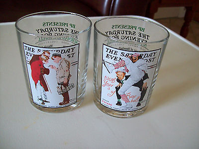 Norman Rockwell SATURDAY EVENING POST 2 tumblers drinking beverage glasses