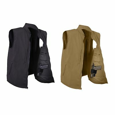 Rothco Concealed Carry Soft Shell Vest Tactical CCW Coyote Brown or Black