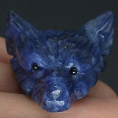 Howling Wolf Blue Sodalite Gemstone Animal Pendant Hand Carved Stone Necklace