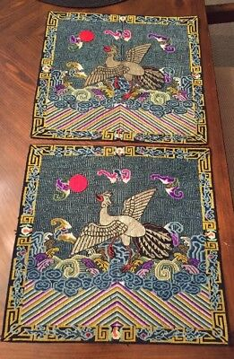 Exquisite chinese Needlepoint Rank Badges Pair! Silk Red Sun Applique