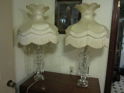 Extraordinary Antique Pair Grand Vtg Prism Crystal Table Lamps Victorian Shades