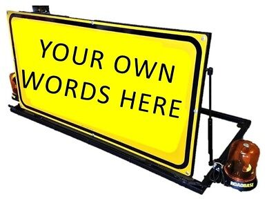 *CHOOSE YOUR OWN WORDING* Mounted Vehicle Sign Warning Flashing Lights Beacons