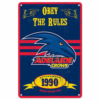 Adelaide Crows Fans Only AFL Retro Metal Tin Wall Sign Gift Man Cave Bar