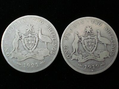 Australia 1919 and 1921 Florin Sterling Silver Coin #BB9