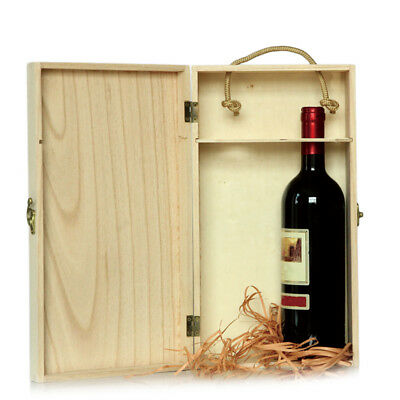 Vintage Handmade Wooden Wine Box Holder For 2 Bottles With Handle Wine Gift Box