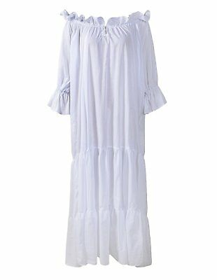 Renaissance Medieval Dress Costume Classic Chemise Ruffled Tiered Peasant Sleeve
