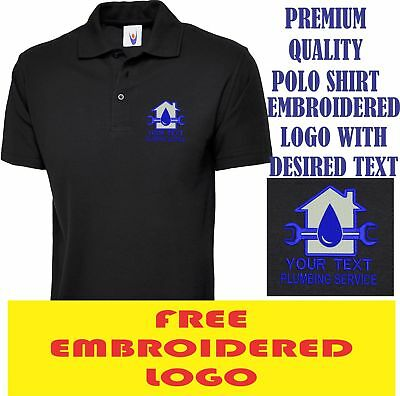 Personalised Embroidered Polo Shirt PLUMBING workwear UNIFORM LOGO