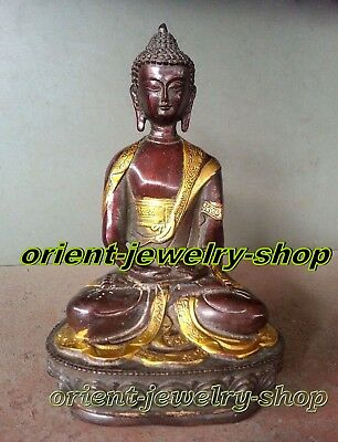Dynasty China Old Bronze Statue Unique Vintage Buddha Lucky