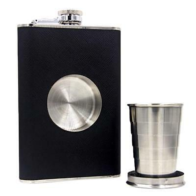 Cap With Collapsible SHOT Glass 8 OZ Flagon Hip Flask Wine Pot Wine Bottle