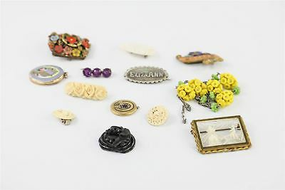 12 x TRUE VINTAGE & ANTIQUE JEWELLERY inc ROLLED GOLD, LOCKETS, JET, ENAMEL