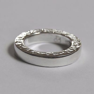 Contemporary Handmade 925 Silver Hammer & Polished Finish Ring Size N(Us 7)