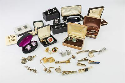 GENTS JEWELLERY LOT Paired Cufflinks , Tie Clips , Studs , Buttons some BOXED