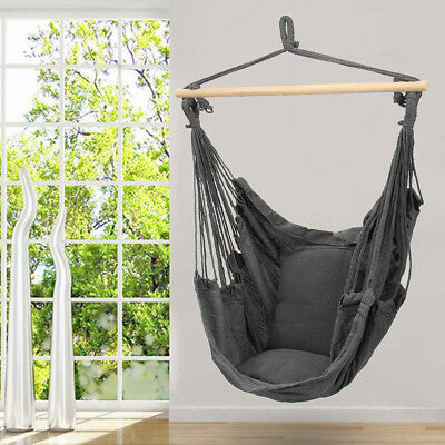 Deluxe Hanging Hammock Chair Swing Garden Outdoor Camping W/ Soft Cushions AU