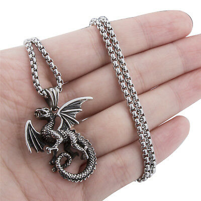 Men's Boy's Ancient Flying Dragon Silver Stainless Steel Necklace Chain Jewelry