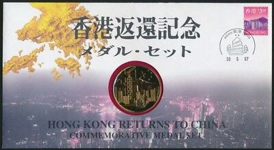 Hong Kong 1997 .925 Silver 32.4g Proof Gold Plated Medallion PNC Return to China