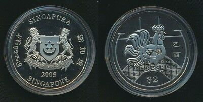 Singapore 2005 $2 Lunar Year of the Rooster Cased Proof-Like Coin