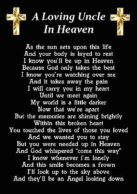 A Loving Uncle In Heaven Memorial Graveside Poem Card With Ground Stake F233