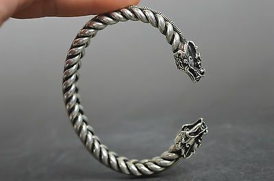 Chinese Handwork Collectable Miao Silver Carve Dragon Shape Auspicious Bracelet