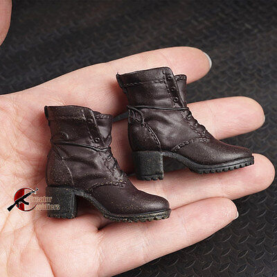 """1/6th Scale Brown Women Crude boots Shoe Model For 12"""" Female Figure Body Doll"""