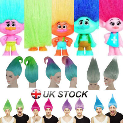 Trolls Poppy Style Cosplay Wig Elf/Pixie Hairpiece Cartoon Characters Branch Lot
