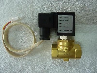 12 Volt DC N/C Solenoid Valve, Water, Air, 1/2 inch  Brass High Quality.