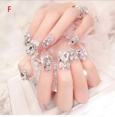 F'24 Pcs  Bling Bling Drill Non-Glue Press-On Completed Nail Tips Fake Nails #