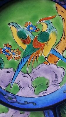 Antique Japanese ceramic wall / serving plate w hand painted parrots and flowers