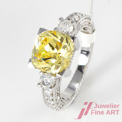 Ring 18K Weißgold - Citrin 5,72 ct + Brillanten 1,02 ct H/VS2 - Gr. 54 - 6,5 g
