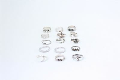 Fantastic Lot of 15 x Vintage .925 STERLING SILVER Rings MIXED Designs -49g