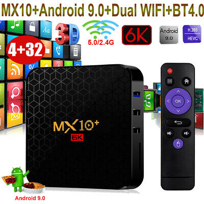 MX10 4+32G Android 9.0 Pie Smart TV BOX Quad Core 4K 3D Media Player WIFI HDR10