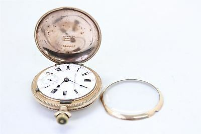 Plymouth Watch Co. KING EDWARD pocket watch gold plate case WORKING