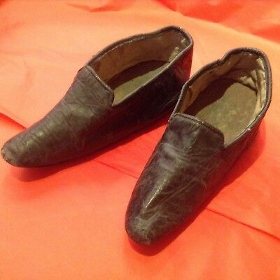 Pair Chinese Bound Foot Shoes, leather/Antique/Unusual/Early 20th century/Lotus