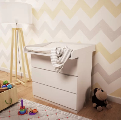 Baby Changing Table Top Washable Surface With Changing Pad Topper New - White