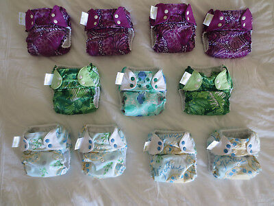 EUC Lot 11 bumGenius Pocket Cloth Diapers Patch Harper Austen Chico 4.0 5.0