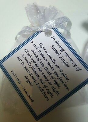 Remembrance Candles, Memory, Funeral, Memorial Candles - Personalised Favours