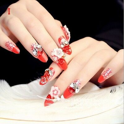 24 Pcs Set Bling Bling Drill Non-Glue Stick-On Completed Nail Tips Fake Nails **