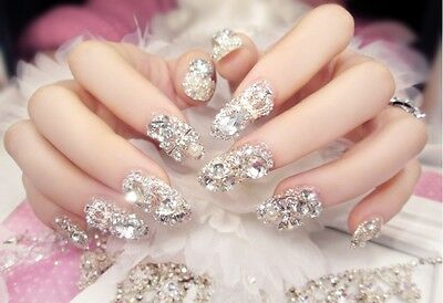 A36''Japanese Style Bling Bling Drill Nail Tips Completed Press-On Fake Nails #