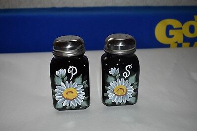 Mosser Glass HP Floral Black Salt and Pepper Shakers
